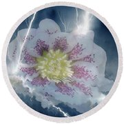 Floral Lightning Reflections Round Beach Towel