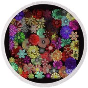 Floral Love Round Beach Towel