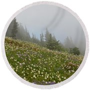 Floral Meadow Round Beach Towel
