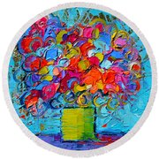 Floral Miniature - Abstract 0415 Round Beach Towel