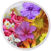 Floral Multitude Round Beach Towel