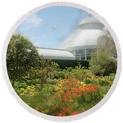Round Beach Towel featuring the photograph Floral Notes by Diana Angstadt