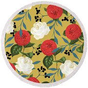 Floral Obsession Round Beach Towel by Uma Gokhale