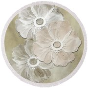 Floral Pattern Round Beach Towel