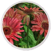 Round Beach Towel featuring the photograph Floral Pink by Deborah Benoit