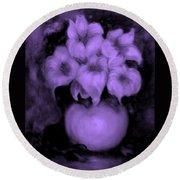Floral Puffs In Purple Round Beach Towel