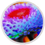 Floral Rainbow Splattered In Thick Paint Round Beach Towel
