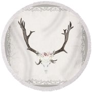 Floral Reindeer Skull  Round Beach Towel by Michele Carter