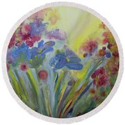 Round Beach Towel featuring the painting Floral Splendor by Stacey Zimmerman