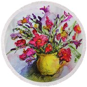 Floral Still Life 05 Round Beach Towel