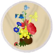 Floral Still Life 1674 Round Beach Towel