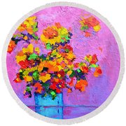 Floral Still Life - Flowers In A Vase Modern Impressionist Palette Knife Artwork Round Beach Towel