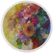 Floral Still Life Round Beach Towel