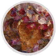 Floral Still Life Pinks Round Beach Towel