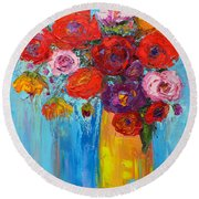 Wild Roses And Peonies, Original Impressionist Oil Painting Round Beach Towel