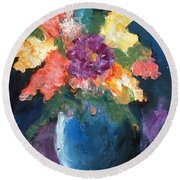 Floral Study 1 Round Beach Towel