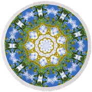 Round Beach Towel featuring the digital art Floral Sun by Shawna Rowe