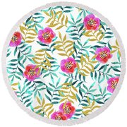 Floral Sweetness Round Beach Towel