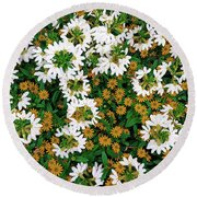 Floral Texture In The Summer Round Beach Towel