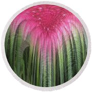 Floral Waterfall Round Beach Towel by Ann Johndro-Collins