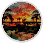 Floridian Iconic Sunset Round Beach Towel