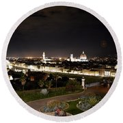 Florence At Night Round Beach Towel