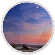 Florence Beach Twilight Moon Round Beach Towel