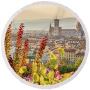 Florence In Summer Round Beach Towel