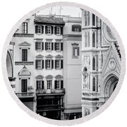 Round Beach Towel featuring the photograph Florence Italy View Bw by Joan Carroll