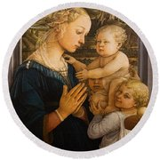 Florence - Madonna And Child With Angels- Filippo Lippi Round Beach Towel