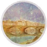 Round Beach Towel featuring the photograph Florence, Italy - Ponte Alla Carraia by Mark Forte