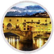 Florence - Ponte Vecchio Sunset From The Oltrarno - Vintage Version Round Beach Towel