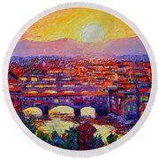 Florence Sunset Over Ponte Vecchio Abstract Impressionist Knife Oil Painting By Ana Maria Edulescu Round Beach Towel