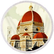 Florence Travel Poster Round Beach Towel