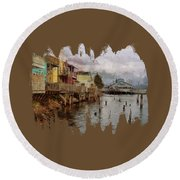 Round Beach Towel featuring the photograph Scene On The Siuslaw  by Thom Zehrfeld