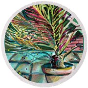 Round Beach Towel featuring the painting Florescent Palm by Mindy Newman