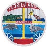 Florida Animal Crackers Round Beach Towel