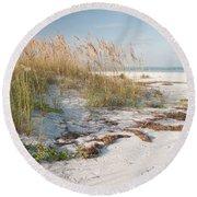 Florida Beach And Sea Oats Round Beach Towel