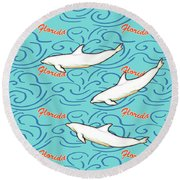 Florida Dolphin Print Round Beach Towel by Methune Hively