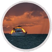 Florida Eclipse Round Beach Towel