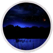 Florida Everglades Lunar Eclipse Round Beach Towel