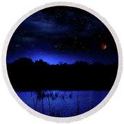 Florida Everglades Lunar Eclipse Round Beach Towel