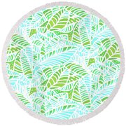 Florida Keys Leaves Round Beach Towel