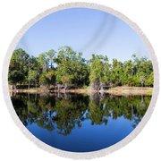 Florida Lake And Trees Round Beach Towel