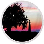 Florida Lighthouse Sunset Silhouette Round Beach Towel
