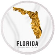 Florida Map Art Abstract In Yellow Gold Round Beach Towel