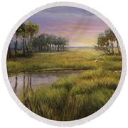 Florida Marsh Sunset Round Beach Towel