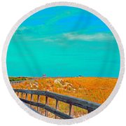Round Beach Towel featuring the photograph Florida Sand Dunes Atlantic New Smyrna Beach by Tom Jelen