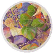 Florida Sea Grape Tree Round Beach Towel by Lisa Boyd