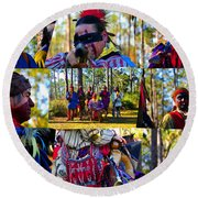 Round Beach Towel featuring the photograph Florida Seminole Indian Warriors Circa 1800s by David Lee Thompson